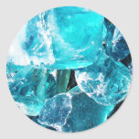 Blue Crystal Chunks Round Stickers