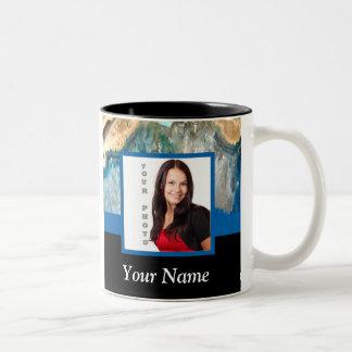 Blue crystal instagram template Two-Tone coffee mug