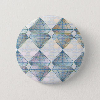 Blue Crystal Pattern Pinback Button