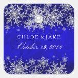 Blue Crystal Pearl Snowflake Silver Wedding Square Sticker