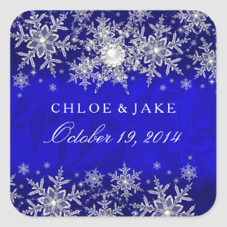 Blue Crystal Pearl Snowflake Silver Wedding Square Sticker