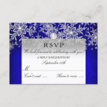 Blue Crystal Pearl Snowflake Silver Winter RSVP
