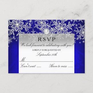 Blue Crystal Pearl Snowflake Silver Winter RSVP