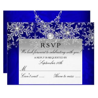 Blue Crystal Pearl Snowflake Silver Winter RSVP Card