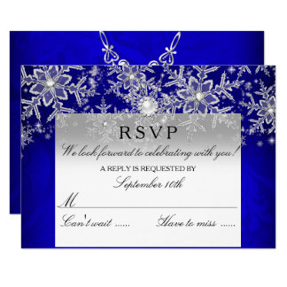 Blue Crystal Pearl Snowflake Silver Winter RSVP Invitation
