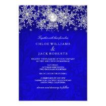 Blue Crystal Pearl Snowflake Silver Winter Wedding Card