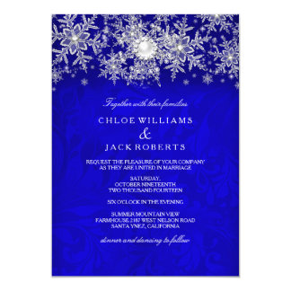 Blue Crystal Pearl Snowflake Silver Winter Wedding Card