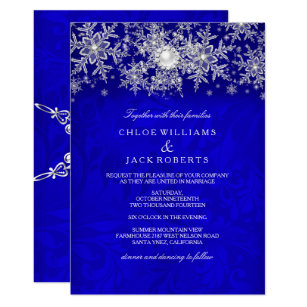 Blue Crystal Pearl Snowflake Silver Winter Wedding Invitation
