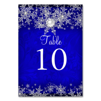 Blue Crystal Pearl Snowflake Table Number Card