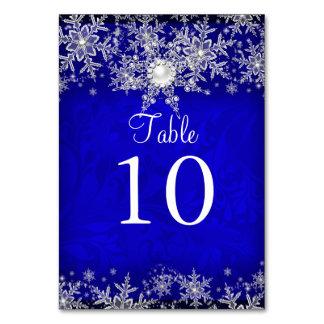 Blue Crystal Pearl Snowflake Table Number Card