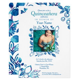 Blue Crystal Quinceañera, Cinderella Quinceanera Invitation