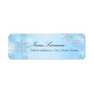 Blue Crystal Snowflake Christmas Address Labels