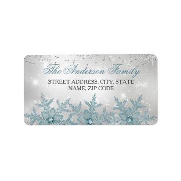 Christmas Themed Blue Crystal Snowflake Christmas Address Labels