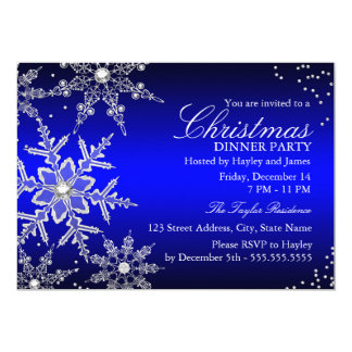 Blue Crystal Snowflake Christmas Dinner Party Card