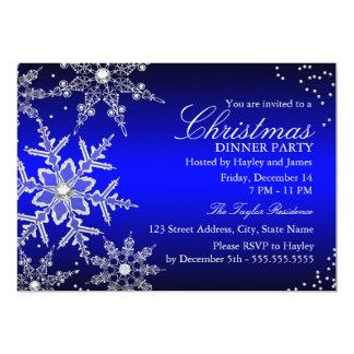 "Blue Crystal Snowflake Christmas Dinner Party 5"" X 7"" Invitation Card"