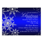 Blue Crystal Snowflake Christmas Dinner Party 5x7 Paper Invitation Card