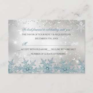 Blue Crystal Snowflake Christmas Party RSVP