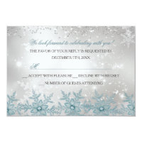 Blue Crystal Snowflake Christmas Party RSVP Card