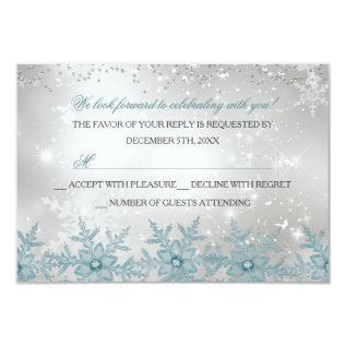 Blue Crystal Snowflake Christmas Party Rsvp Card at Zazzle