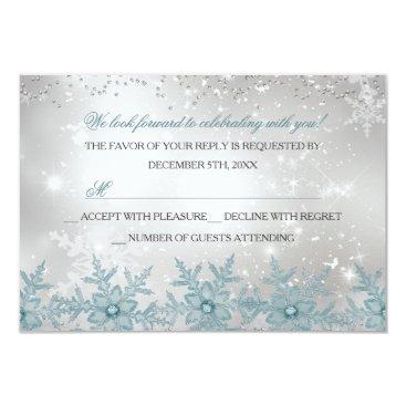 Christmas Themed Blue Crystal Snowflake Christmas Party RSVP Card