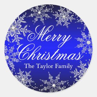 Blue Crystal Snowflake Christmas Sticker