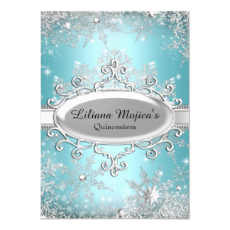 Blue Crystal Snowflake Princess Quinceanera 5x7 Paper Invitation Card