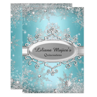 Blue Crystal Snowflake Princess Quinceanera Card