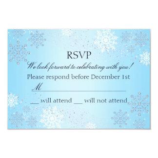 Blue Crystal Snowflake Winter Wonderland RSVP Card