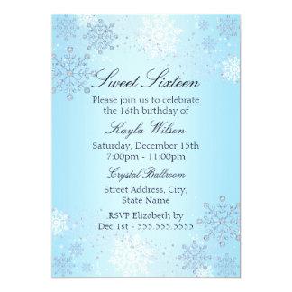 Blue Crystal Snowflake Winter Wonderland Sweet 16 5x7 Paper Invitation Card