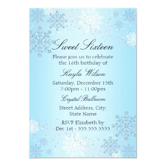 Blue Crystal Snowflake Winter Wonderland Sweet 16 Card