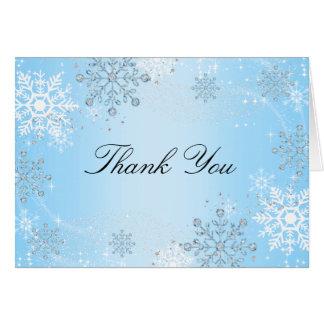 Blue Crystal Snowflake Winter Wonderland Thank You Card