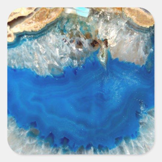 blue crystal square sticker