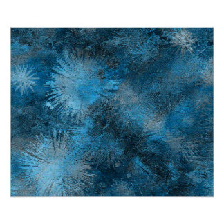 Blue Crystallized Ice Print