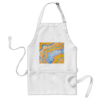 blue crystallized pattern with gold surrounding adult apron
