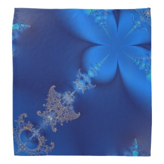 Blue Crystals Fractal 2 Bandanna