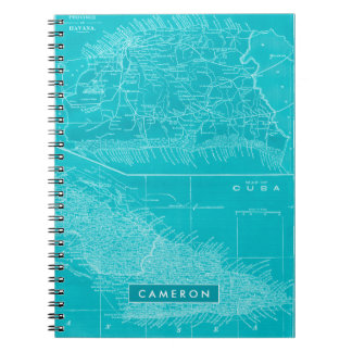 Blue Cuba Map Notebook