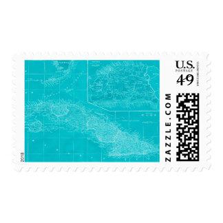 Blue Cuba Map Postage