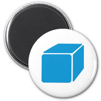 Blue cube 2 inch round magnet