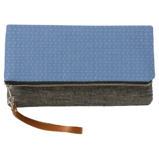 Blue Cubes patterned Clutch