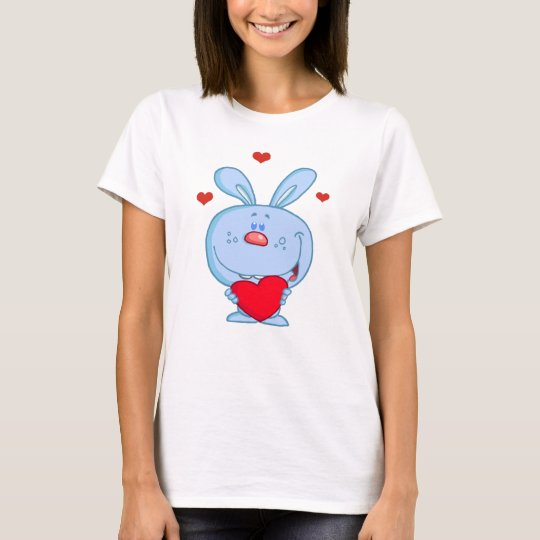 Blue Cuddly Bunny Holding A Heart T-Shirt