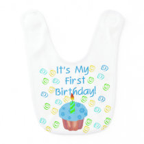 Blue Cupcake 1st Birthday Bib