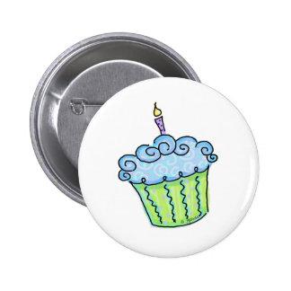 Blue cupcake 2 inch round button