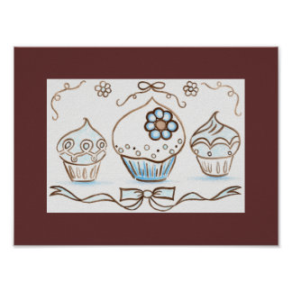 Blue Cupcake Art Poster Print