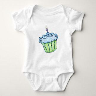 Blue cupcake baby bodysuit