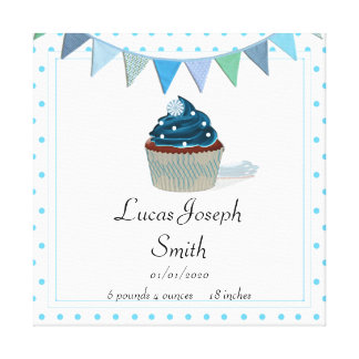Blue Cupcake Baby Canvas Print
