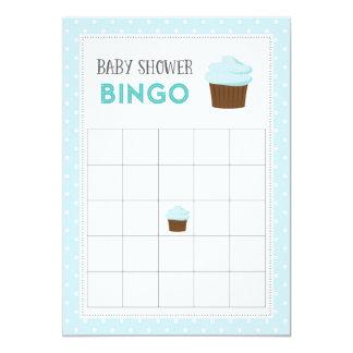Blue Cupcake Baby Shower Bingo Card