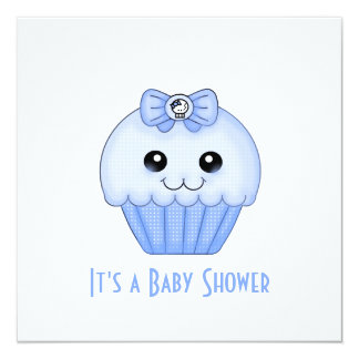 Blue Cupcake Baby Shower Invitation