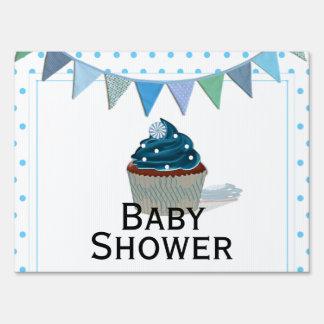 Blue Cupcake Baby Shower Yard Sign
