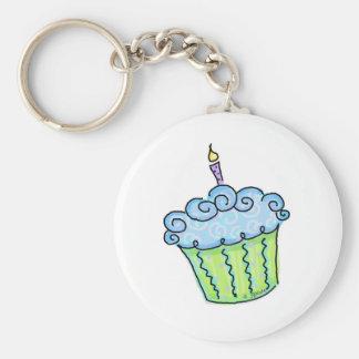 Blue cupcake basic round button keychain