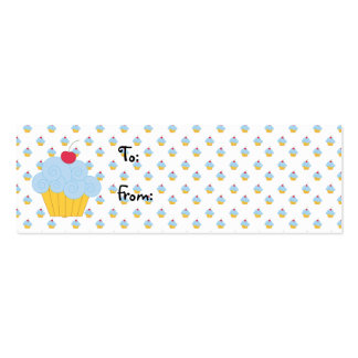 Blue Cupcake Birthday Gift Tags Business Card Template